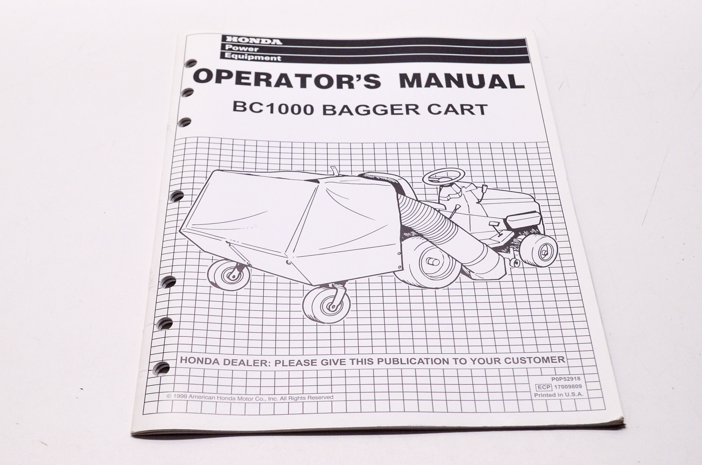 OEM Honda P0P52918, 17009809 Operator's Manual BC1000