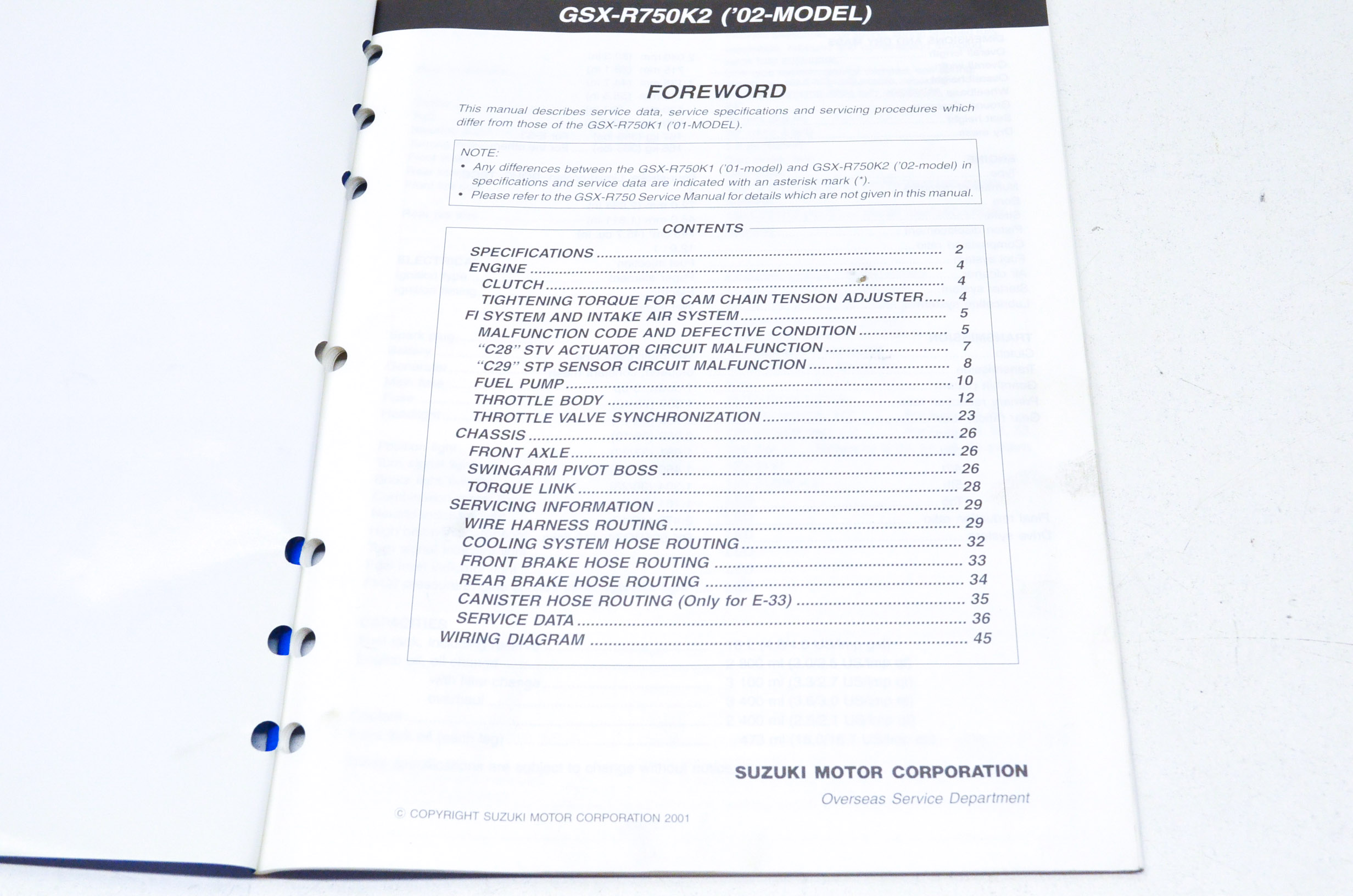OEM Suzuki 99501-37210-03E Supplementary Service Manual