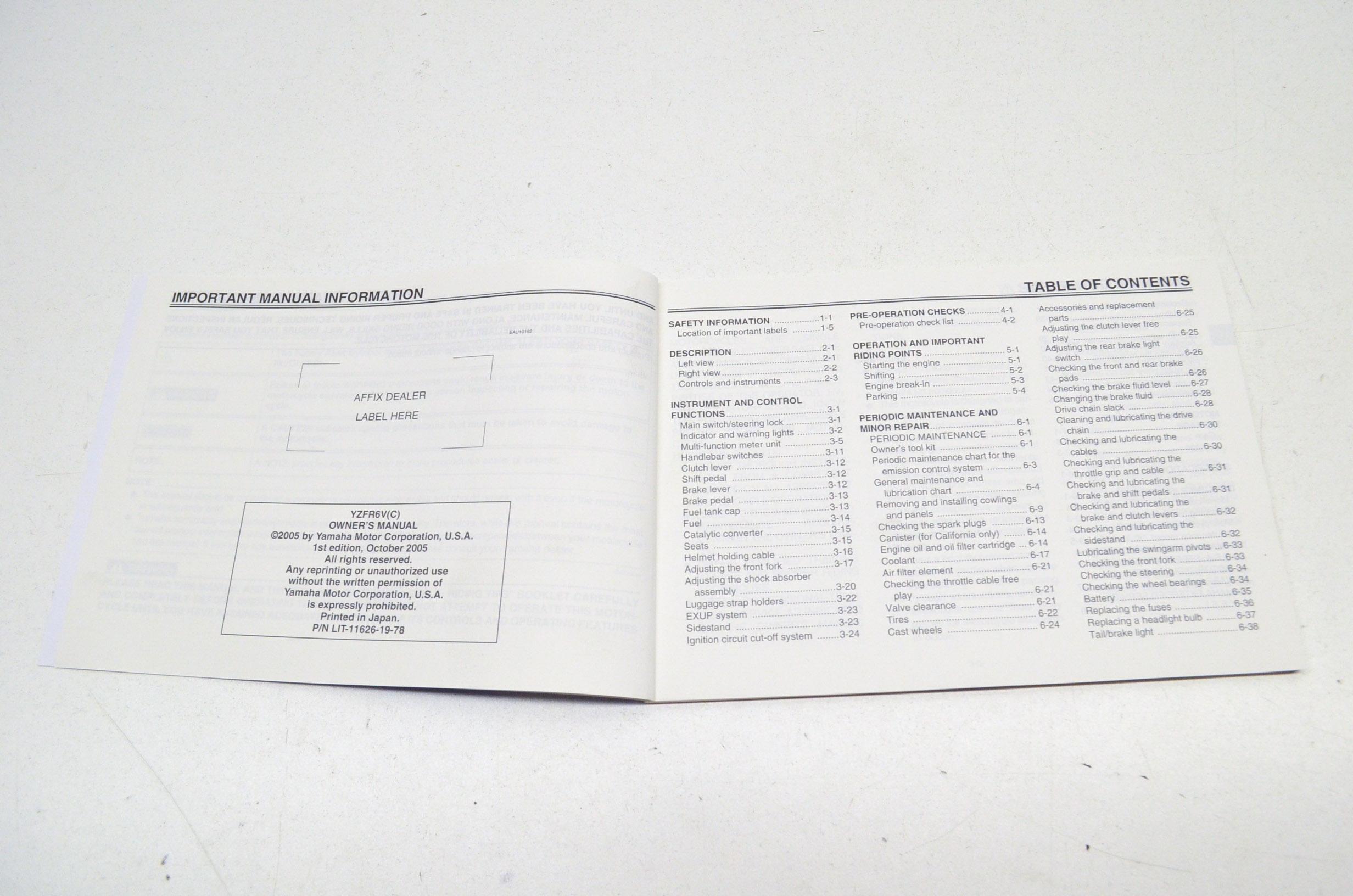 OEM Yamaha LIT-11626-19-78 Owner's Manual YZFR6V/VC R6 NOS
