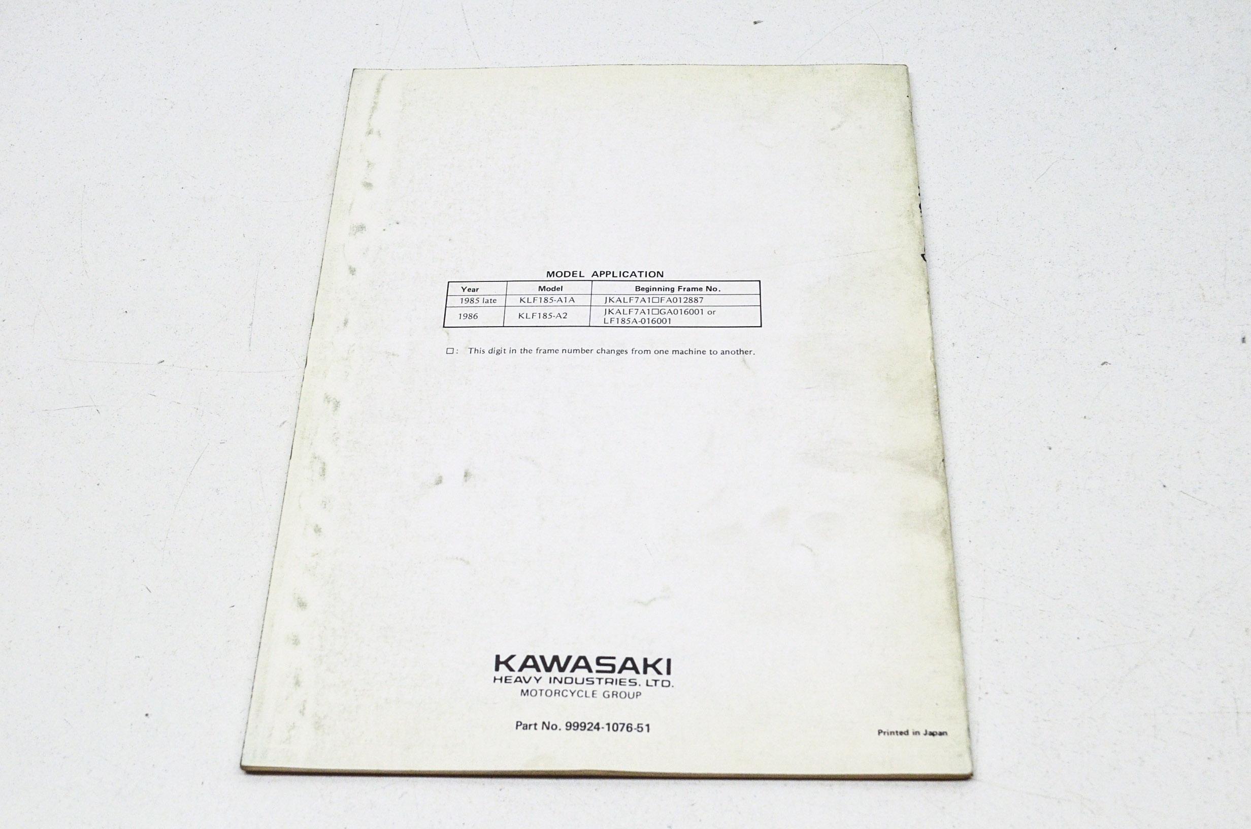 OEM Kawasaki 99924-1076-51 All Terrain Vehicle Service