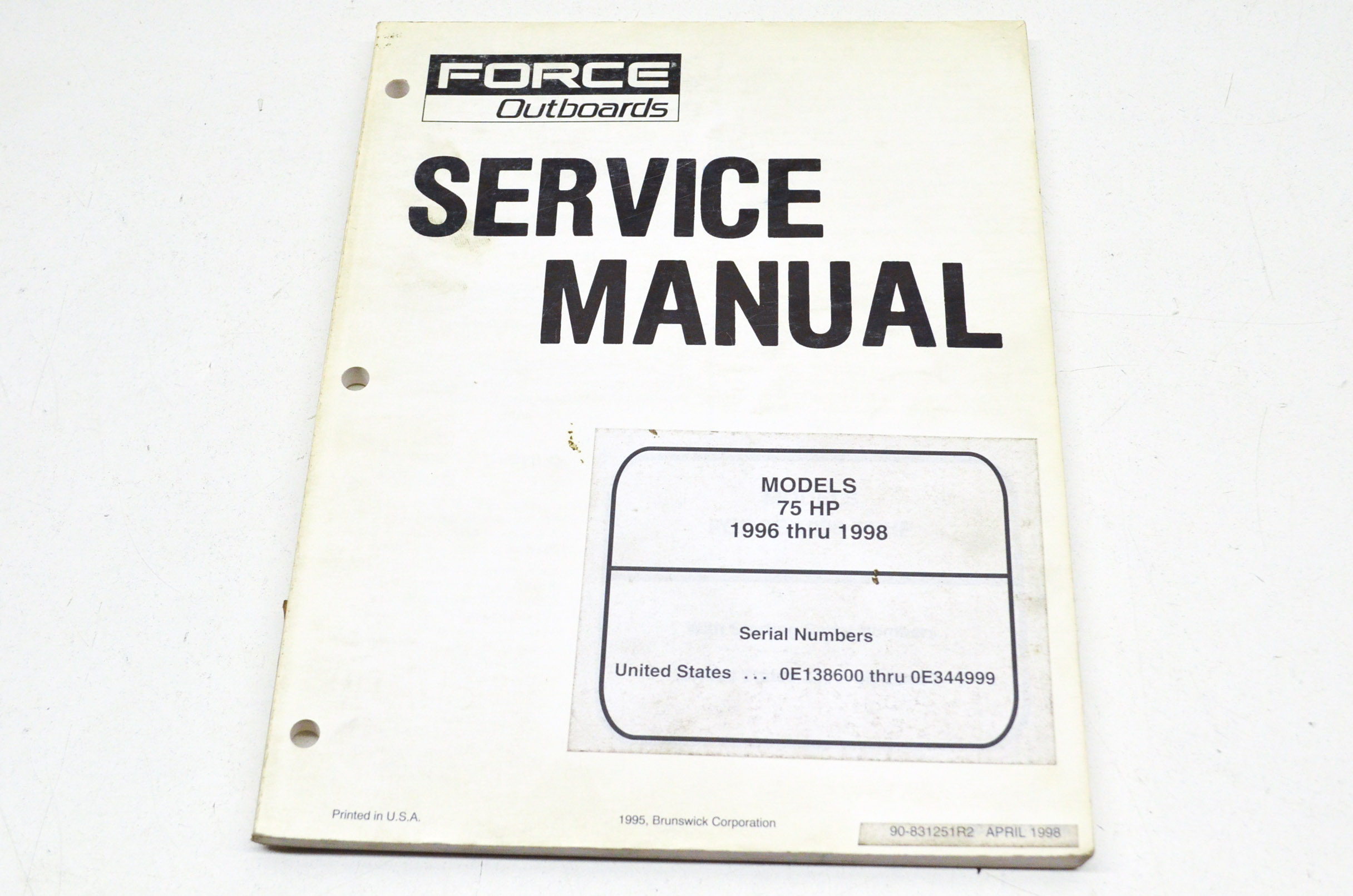 Force Outboards 90-831251R2 75 HP 1996 thru 1998 Service