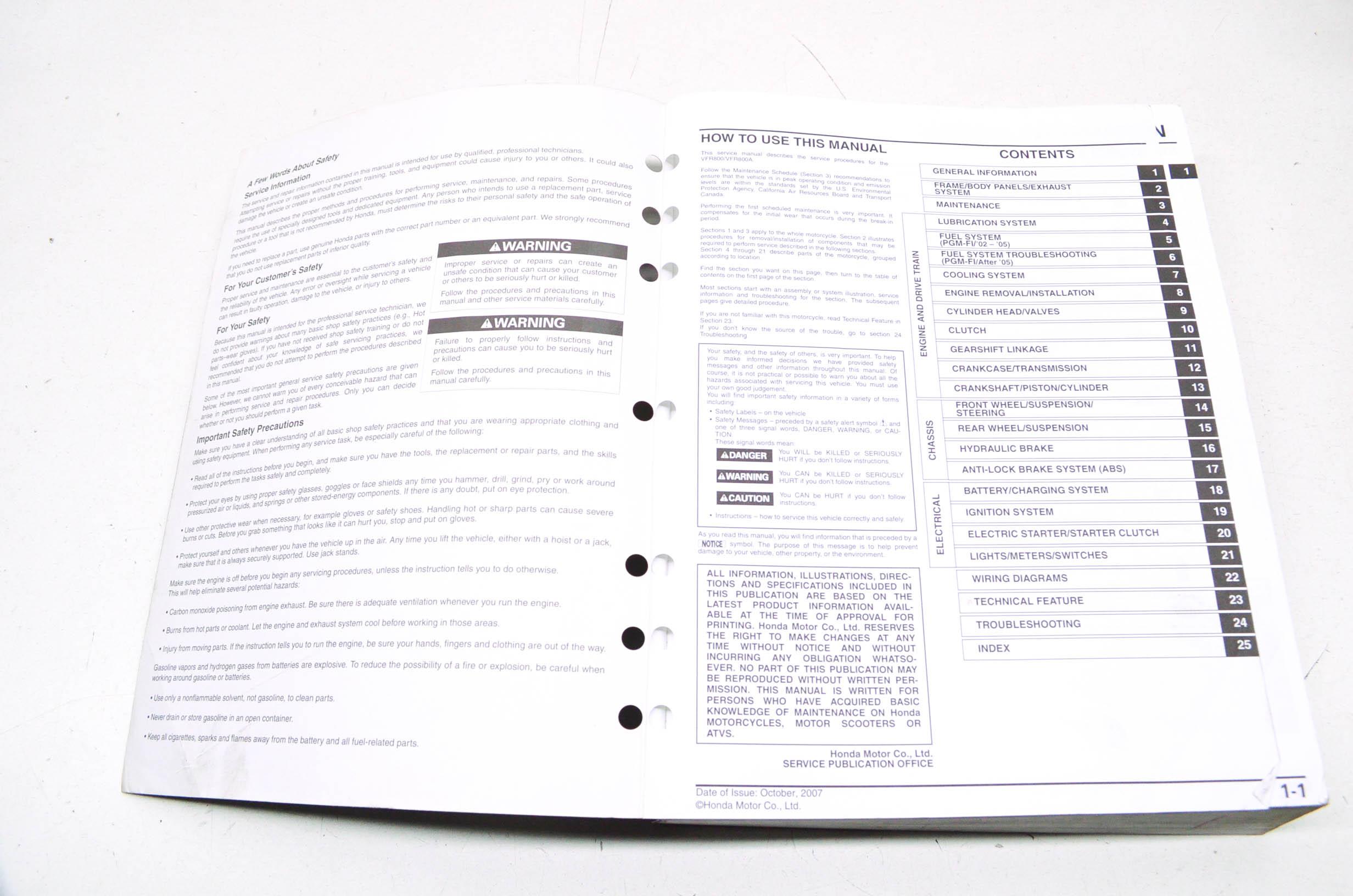 OEM Honda 61MCW06 2002-2009 VFR800/A Interceptor Service