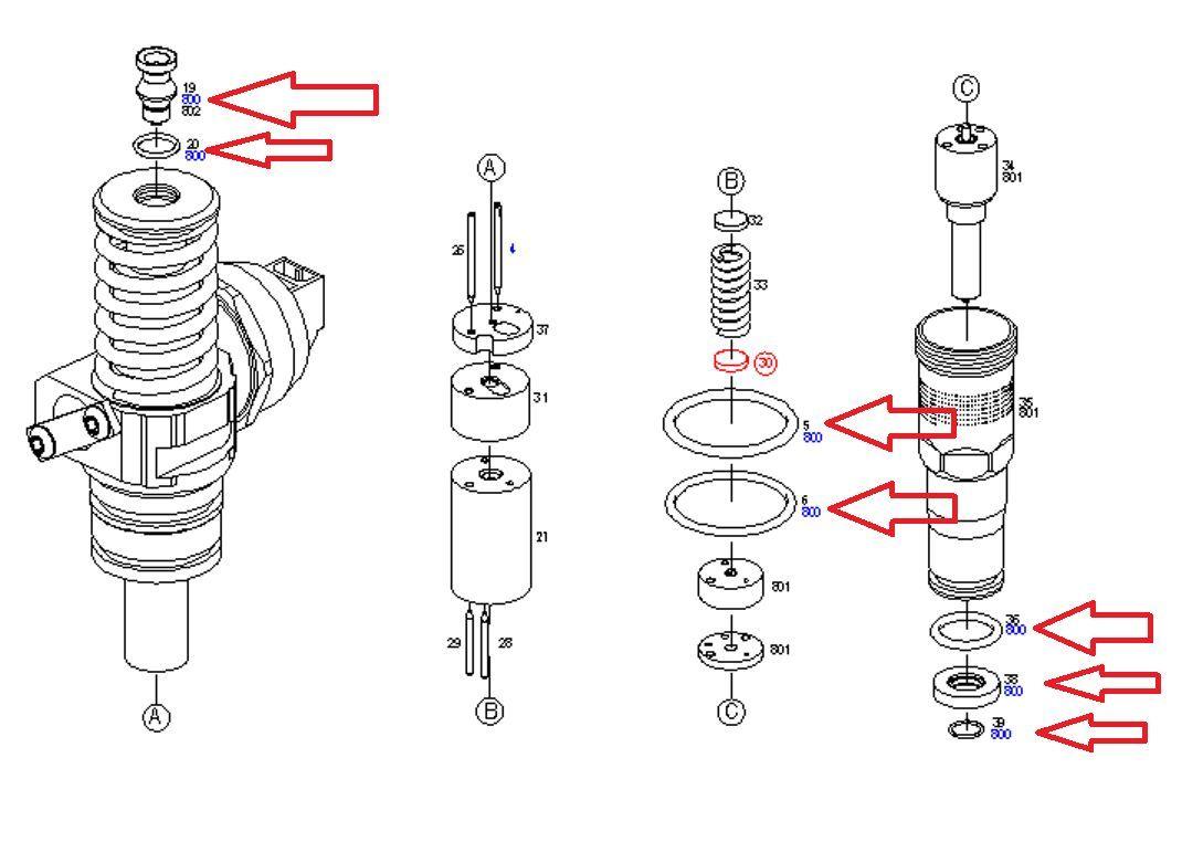 BOSCH PD injector seals repair kit for 1.9TDI 2.0TDI Audi