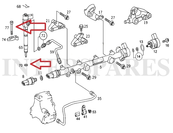 Fuel injector washers + holder bolts Mercedes A160 A170