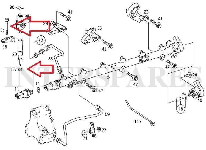 Diesel injector shims + 6 holder screws Mercedes W204 W211