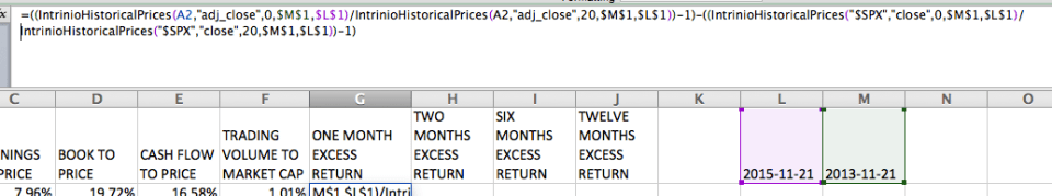 Quant Modeling With Intrinio Financial Data - Calculating One Month Excess Return
