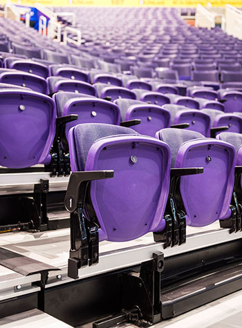Telescopic bleachers and platforms for gymnasiums arenas