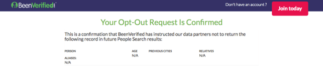 remove yourself from identitypi been verified opt out removal