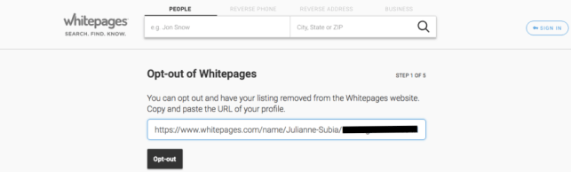 remove yourself from whitepages opt out removal