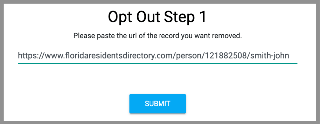 remove yourself from Florida Residents Directory opt out removal