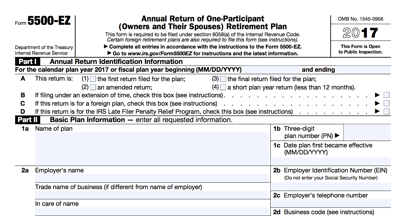 Form 5500 Ez 2017 Updated Guide Solo 401k