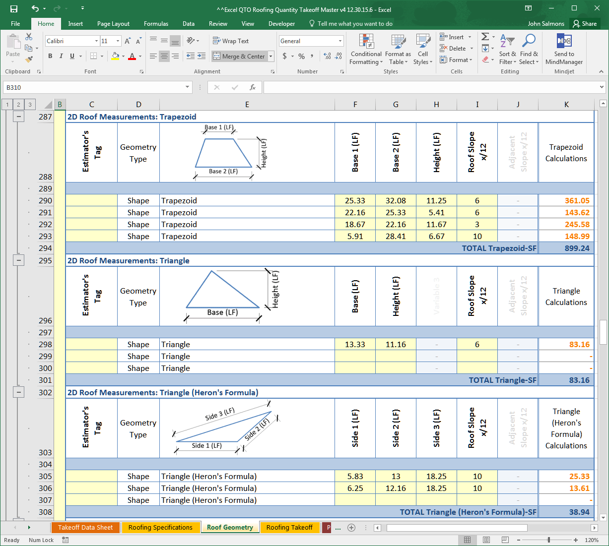 Excel Qto Roofing Quantity Takeoff Amp Pricing Database