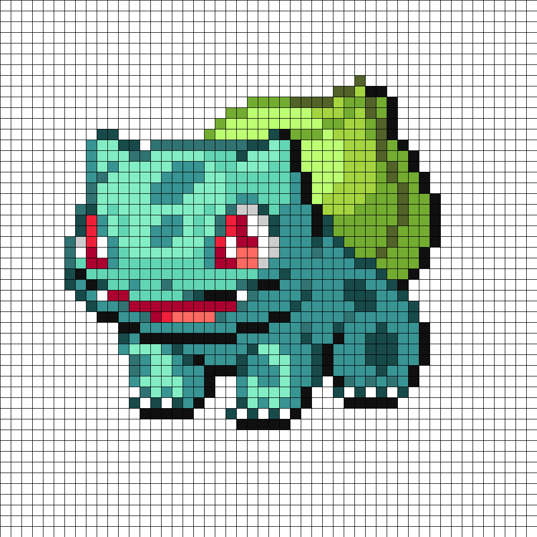 hight resolution of bulbasaur perler bead pattern bead sprite