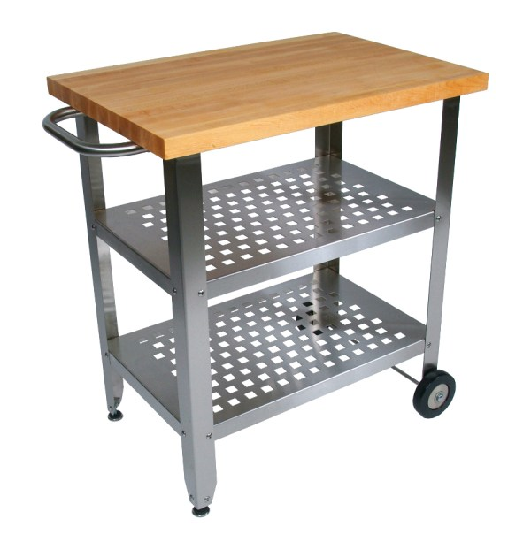 Stainless Steel Kitchen Cart with Butcher Block Top