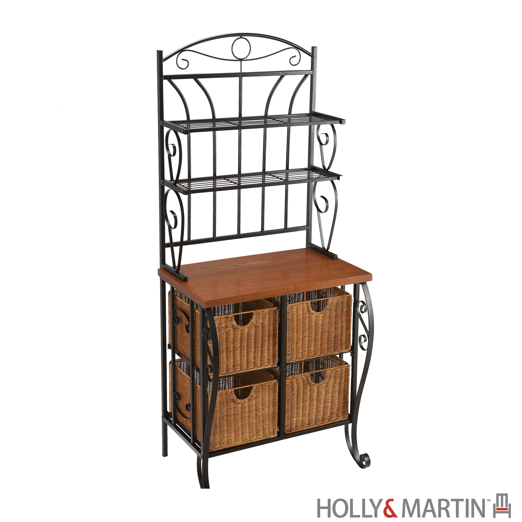 bakers racks for kitchen cork floor lillian iron and rattan baker 39s rack holly martin