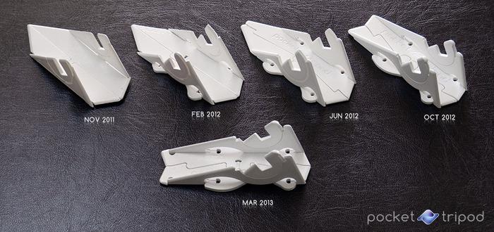 Progettazione evoluzione del treppiede tascabile illustrato attraverso milestone rapida-prototipi.