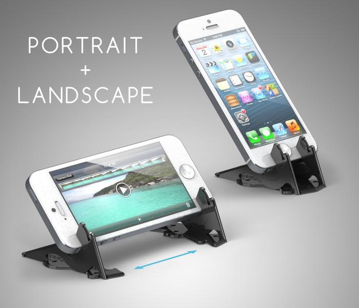 Il treppiede tascabile può tenere l'iPhone sia in orizzontale e in verticale.