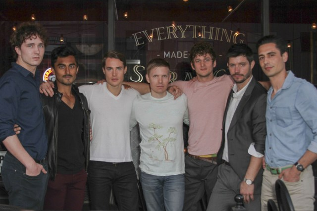 From left: Blake Sheldon, Gopal Divan, Alexander Dreymon, Hunter Lee Hughes, Jerod Meagher, Justin Schwan, Vincent Montuel outside 'The Addiction Bistro' Photo by: Michael J Douglass