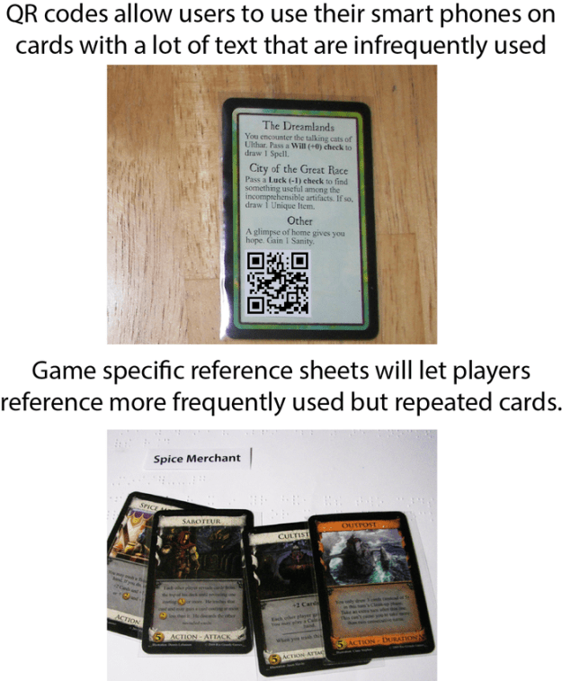 Examples of QR codes added to cards (via 64oz. Games)