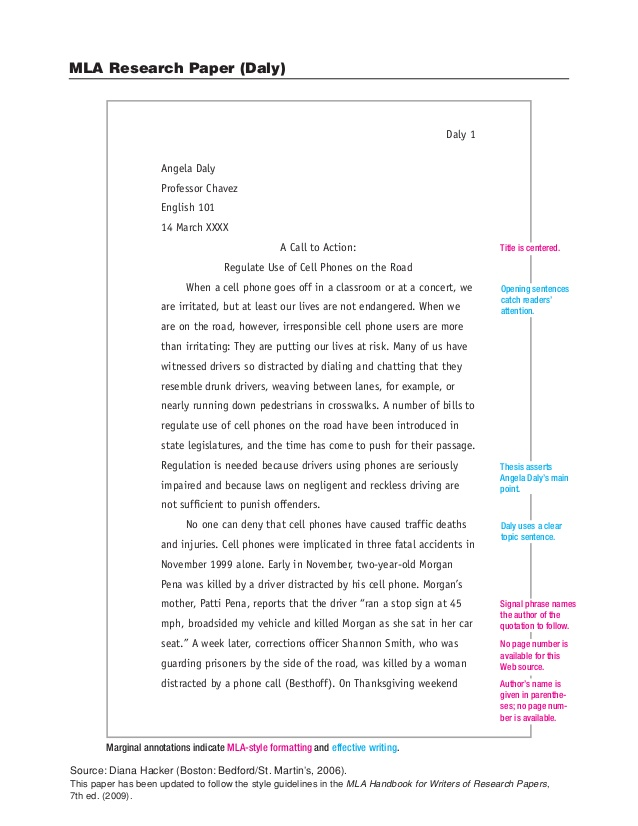 Sample Paper In MLA Format Stoneham High School Library Media