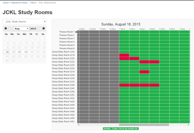a sample spreadsheet of private study room reservations that can be made online.
