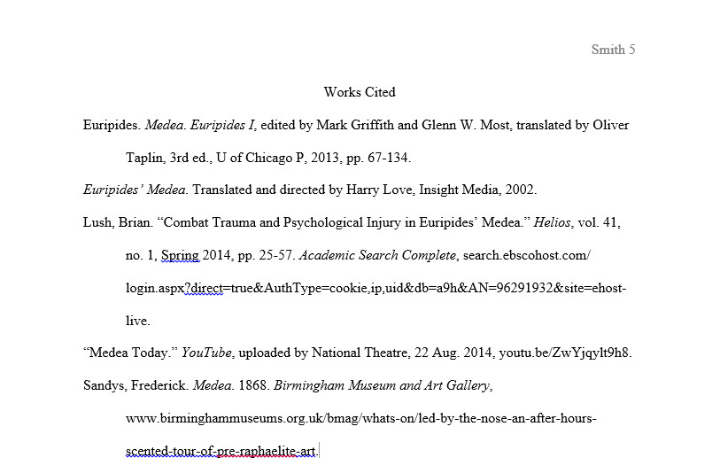 sample of a work cited page
