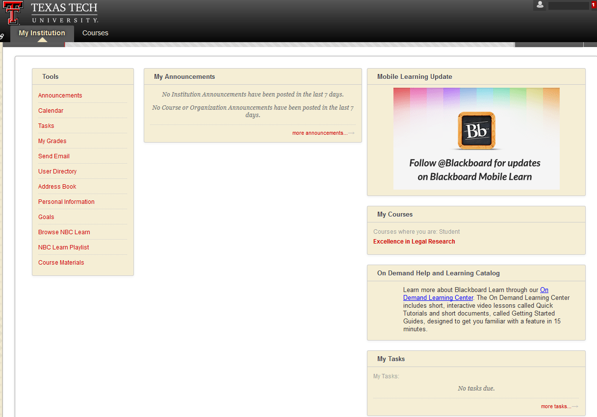 Class Sign-ups in Blackboard - Excellence in Legal Research Program - LibGuides at Texas Tech University School of Law Library