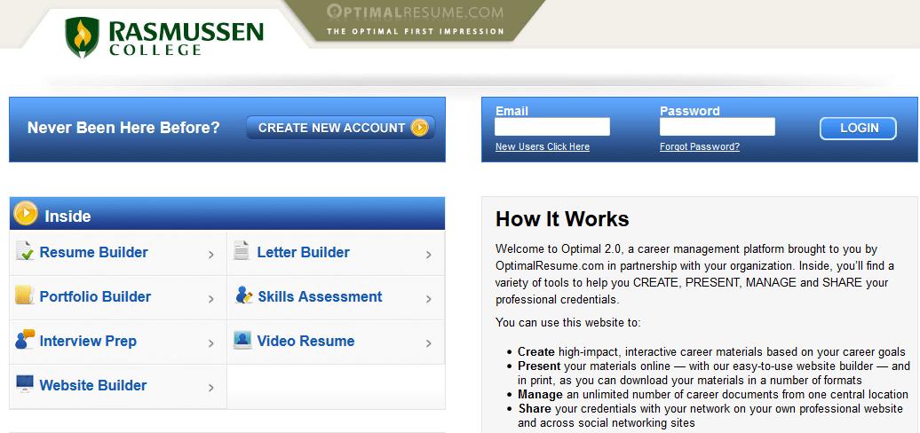 rasmussen optimal resume electronic portfolio resource