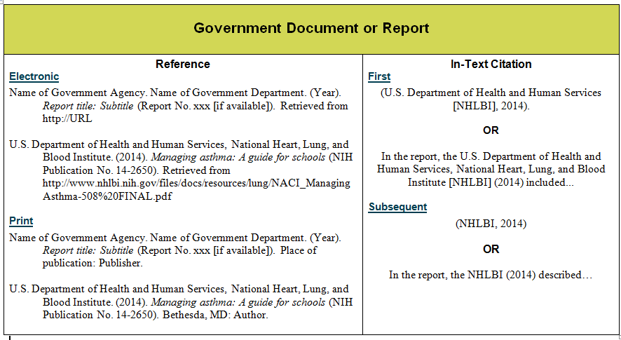 Government Publications & Reports APA Guide Guides At