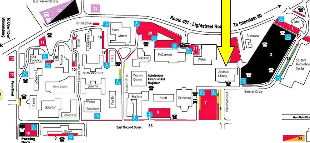Map Bloomsburg University Upper Campus
