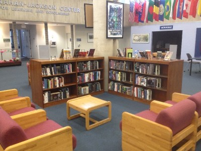 Bookshelves are placed within the public library
