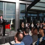 LifeWay employees and guests joined President and CEO Thom S. Rainer to dedicate its new corporate headquarters with a ribbon-cutting ceremony and prayer of thanksgiving. Photo by Katie Shull