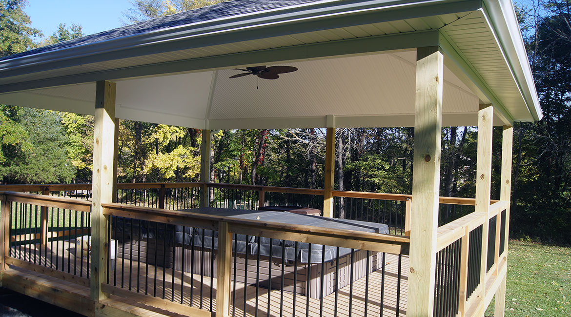Large wooden gazebo by TrueSon Exteriors