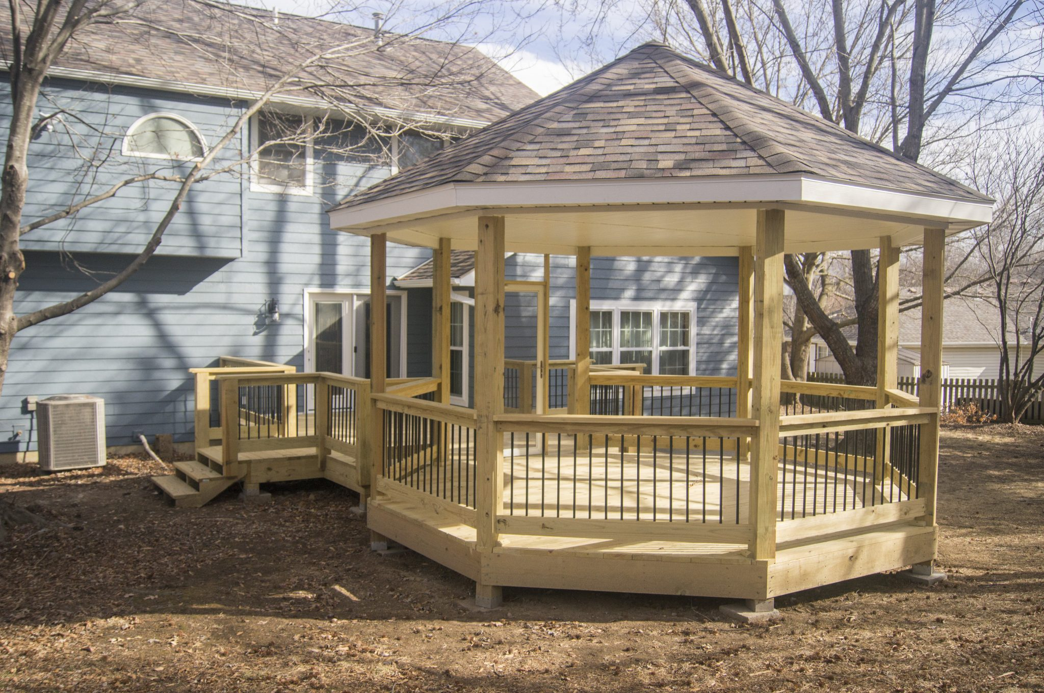 Gazebo construction freshly completed by TrueSon Exteriors.