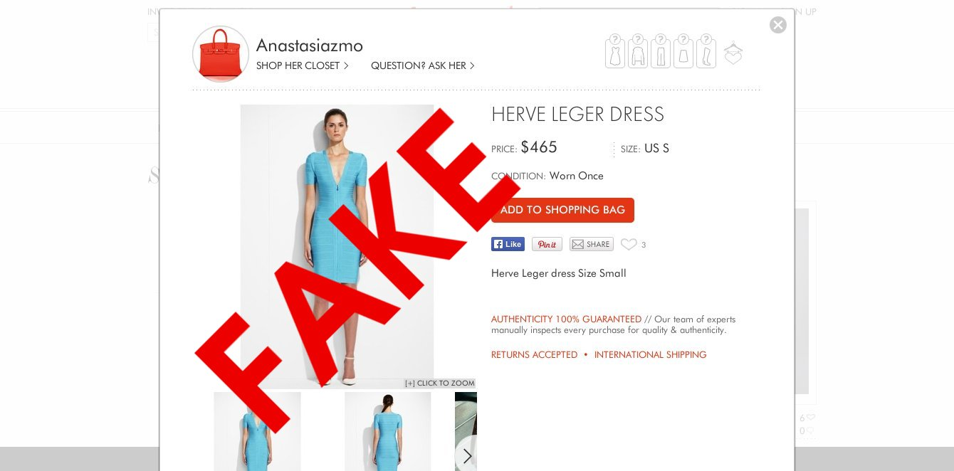 hight resolution of fake designer goods being sold as authentic at resale sites
