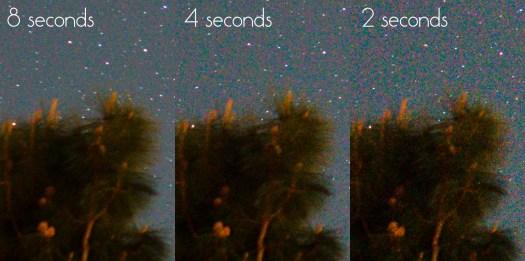 Astrophotography shutter time noise comparison