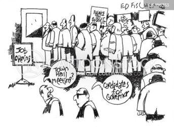 town hall meeting cartoon cartoons political funny job dislike slip pink