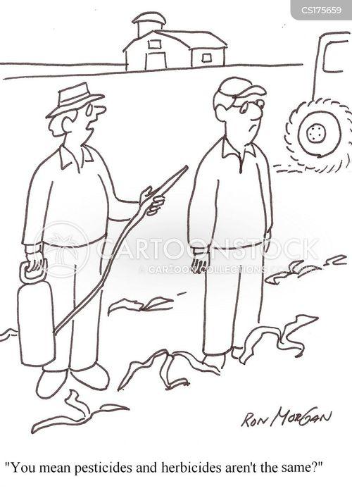 Cartoons und Karikaturen mit Pestizide
