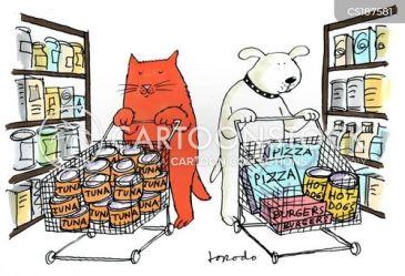 grocery supermarket cartoons trolley cartoon funny food cat animals comics cartoonstock cats owner dislike