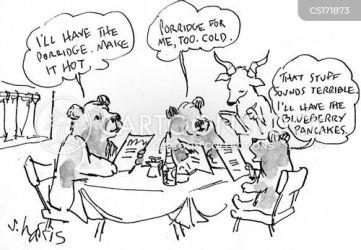 bears goldilocks three porridge food order cartoon cartoons funny comics fairy story fairytale cartoonstock dislike tale