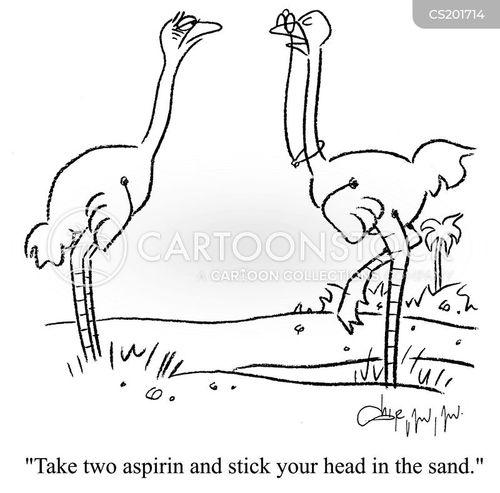 Cartoons und Karikaturen mit Kopfschmerzen