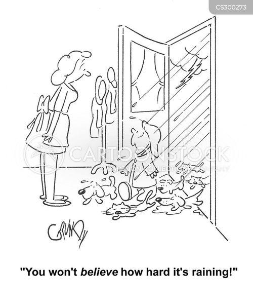Cartoons und Karikaturen mit Hunde Und Katzen Regnen