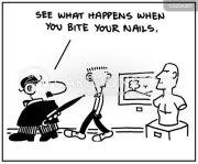nail biting cartoons and comics