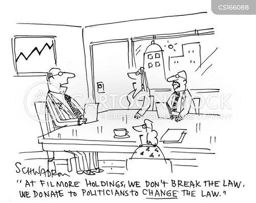 Cartoons und Karikaturen mit Bestechung