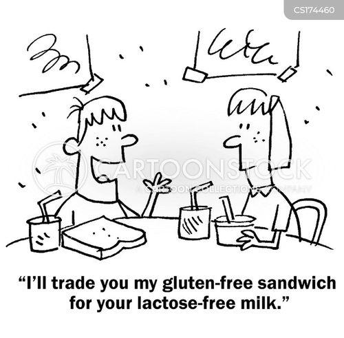 Cartoons und Karikaturen mit Laktose