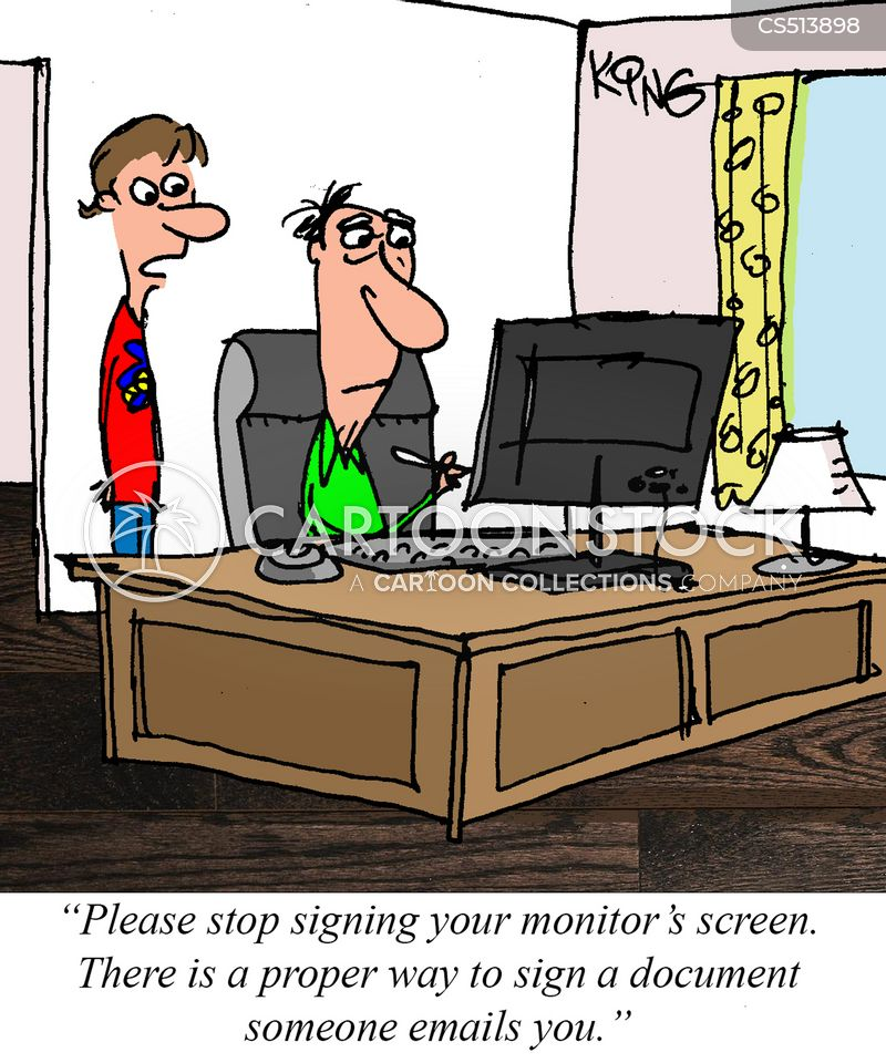 Cartoon Signature : cartoon, signature, Electronic, Signature, Cartoons, Comics, Funny, Pictures, CartoonStock