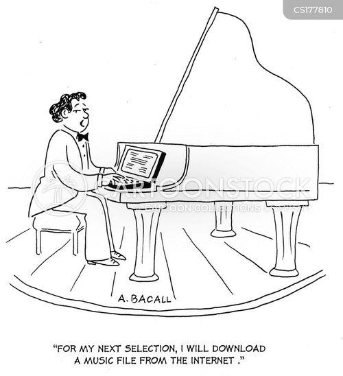 Cartoons und Karikaturen mit Pianisten