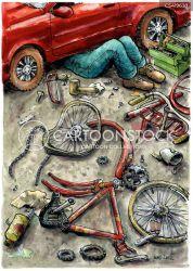 repair bike cartoon funny cartoons garage comics illustration cartoonstock