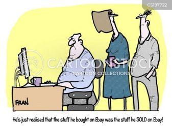 shopping auction computer cartoon cartoons funny shoppers shopaholic cartoonstock internet dislike comics