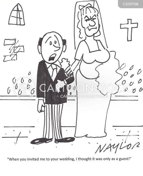 Cartoons und Karikaturen mit Trauung